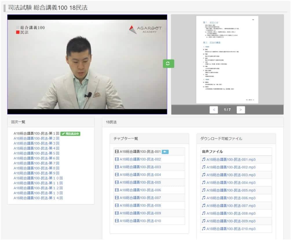 アガルート予備試験1年合格カリキュラムの講義動画